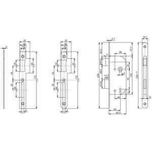 Image produit SERRURE D226 CLE L 3 GORGES AXE40 ENTRAXE70 C7 BOUTS CARRES