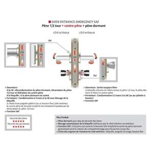Image produit SERRURE D459 URGENCE EN12209 EN179 T20 BOUTS RONDS